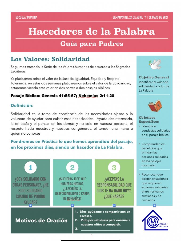 Guía para Padres - Valor: Solidaridad